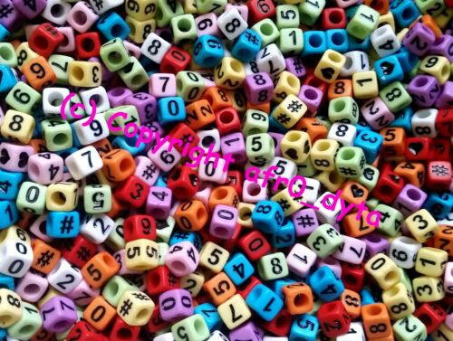 100 to 1000 Opaque Coloured Mixed Numbers Cube Beads 6mm For Jewellery Making
