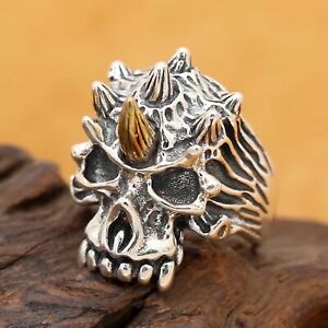 Solid-925-Sterling-Silver-Mens-Heavy-Horned-Skull-Ring-Open-Adjustable-Size