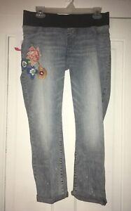 Ingrid-And-Isabel-Women-039-s-Straight-Leg-Capri-Length-Maternity-Jeans-Size-0-25