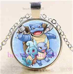 Pokemon water evolutions cabochon glass dome silver chain - Evolution pokemon argent ...