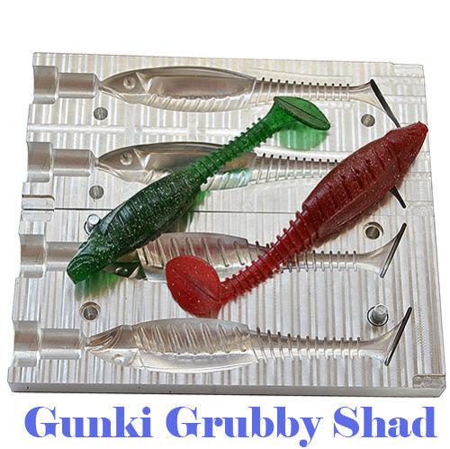 Lure Aluminium Grubby Bait Mold Gunki Grubby Aluminium Shad 2 Cavity 4.1