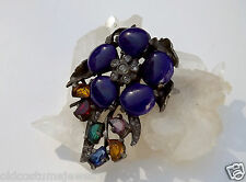 Cobalt Blue POURED GLASS Pin FUR Clip PASTE Rhinestones 1/2 Moon Stones FLOWER