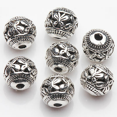 10//20Pcs Tibetan Silver Charm Hollow Out Jewelry Beads Pendant Findings 20*10mm