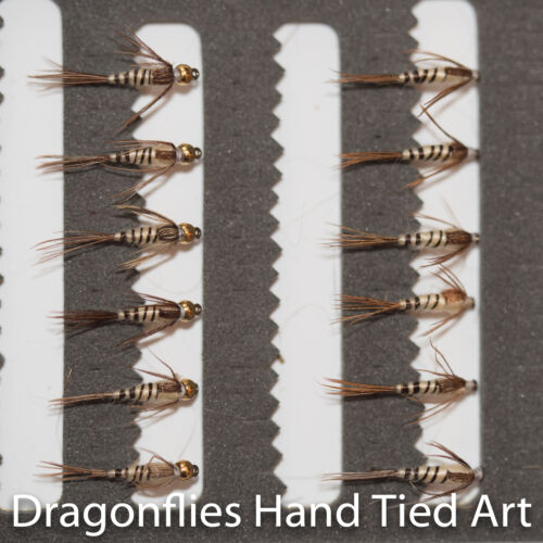 12 Gold Head /& Standard Walkers Mayfly Nymphs Trout Fishing Flies Dragonflies