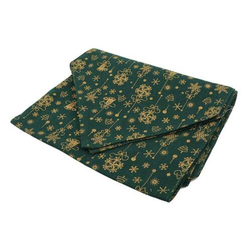 Green Gold Table Runner Placemats Tree Snowflake Dinner Ornament Christmas YW