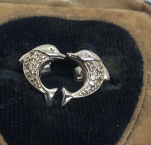 Vintage-Sterling-Silver-Earrings-925-Dolphin-Fish