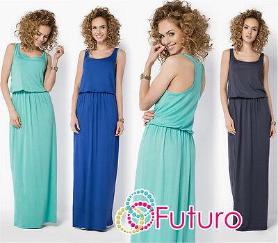 Treu Womens Summer Vest Tank Maxi Dress Sleeveless Long Sundress Plus Sizes 8-18 Fm21 Klar Und GroßArtig In Der Art