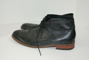 Florsheim-Men-039-s-Size-14-D-Medallion-Toe-Distressed-Black-Leather-Chukka-Boots