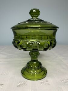 Vintage-Green-Indiana-Glass-Thumbprint-Covered-Pedestal-Candy-Dish-Kings-Crown