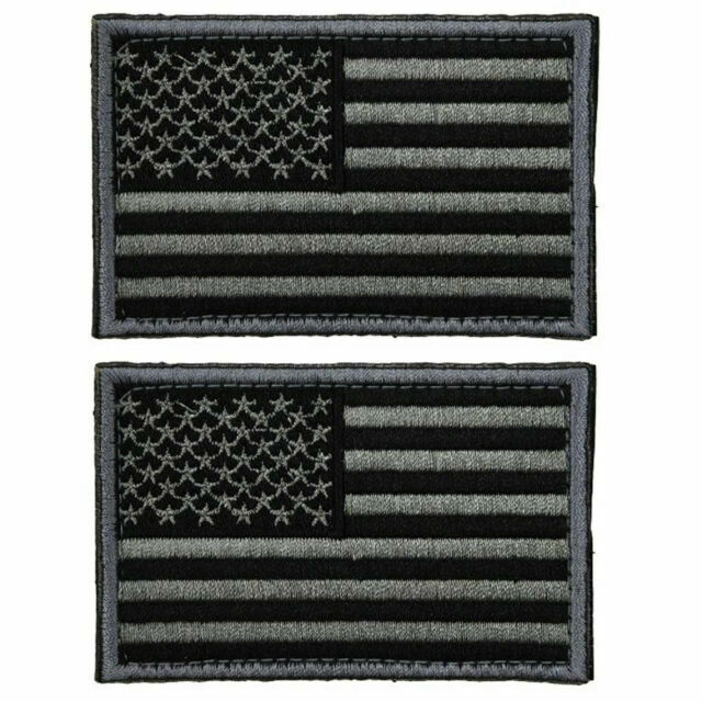 Custom Embroidery USA flag HOOK ON name patch military tactical black version