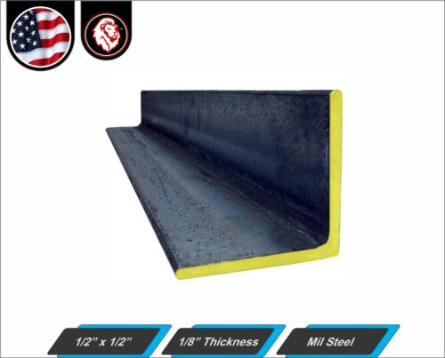 """12/"""" Inch Long 1//8/"""" thickness 1//2 x 1//2 - Mild Steel Angle"""