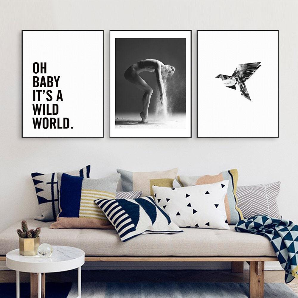 פוסטרים שחור לבן - כיתוב, רקדנית, ציפור