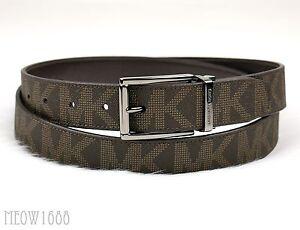 a0fc1df8a103 New Michael Kors Men Brown Logo Slim 30mm Width Reversible Belt Cut ...