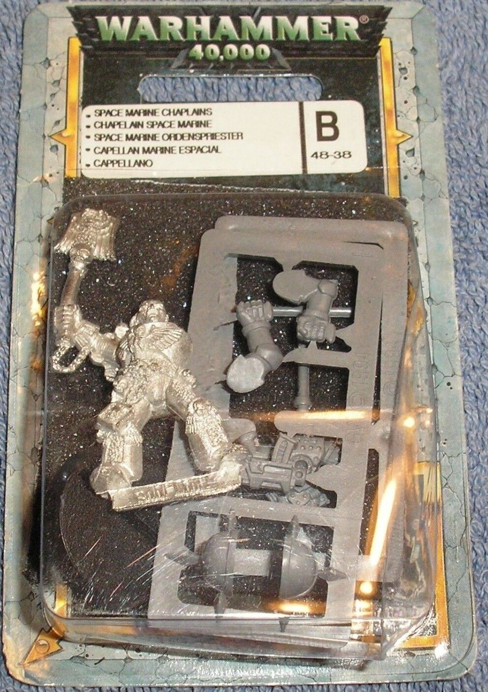 40k Rare oop Blister Metal Space Marine Marine Marine Chaplain in Power Armor w Crozius 2 NIB 1b5247