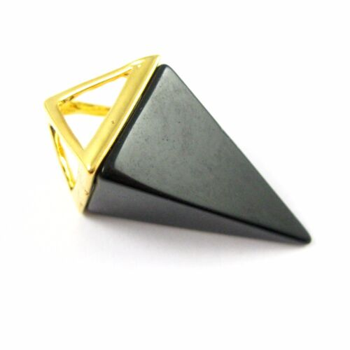 Gold plated brass Pendant Natural Gemstone Pyramid Pendant Point Spike Pendant