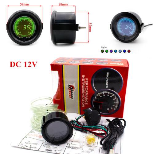 52mm Auto Car Turbo Boost Vacuum Pressure Gauge Meter 7 Colors Digital LED Light