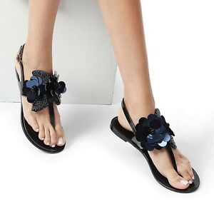 Kurt-Geiger-Miss-KG-Black-amp-Blue-Jelly-Sandals-Size-7-40-Holiday-Flip-Flop-New