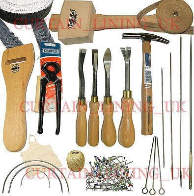 Upholstery Tool Kit 19 Tack Staple Chisels Hammer Stretcher Mallet Needles