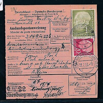 89554) Auslands - Postanweisung Heuss, 120pf Mif Nienburg - Belgien Freigabepreis