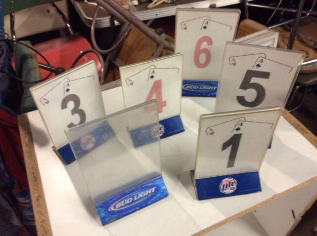 6 Vtg Bud Light Miller Bar Table Top Advertising Signs Menu Holders