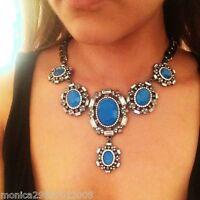Zara Blue Stone Statement Necklace Authentic 1856/238