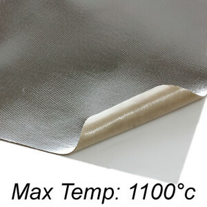 Details about Self Adhesive Reflective Aluminised Silica Fabric Heat  Barrier Sheet 18 x 18