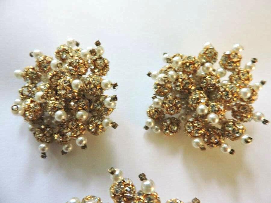 Stunning Vintage Crystal Rhinestone Faux Pearl Go… - image 5