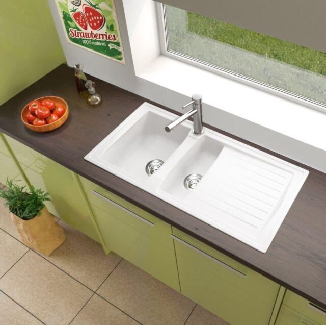 lavandino lavello incasso cucina mineralite 100 x 50 bianco respekta