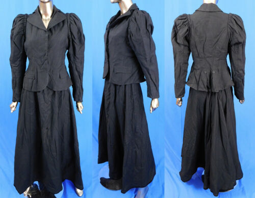 Vintage Victorian Women's Tailored Black Wool Walk