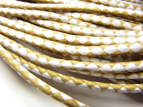 marrón claro-blanco; bg5 1 metros cordón baumwollkordel trenzada 3 mm