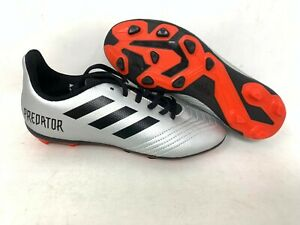 NEW-Adidas-Youth-Boy-039-s-PREDATOR-19-4-Soccer-Cleats-Silver-Black-A19-tz