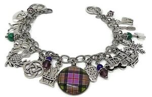 Celtic-Stainless-Steel-Charm-Bracelet-Plaid-Photo-Glass-Cabochon-and-Thistle