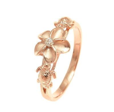 PINK ROSE GOLD PLATED SILVER 925 HAWAIIAN PLUMERIA FLOWER HONU TURTLE RING CZ