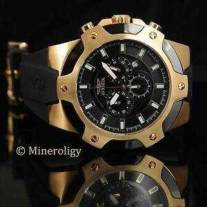 Invicta signature 18k gold ip chronograph black silicone 52mm mens sport watch 843836073431 ebay for Bulltoro watches