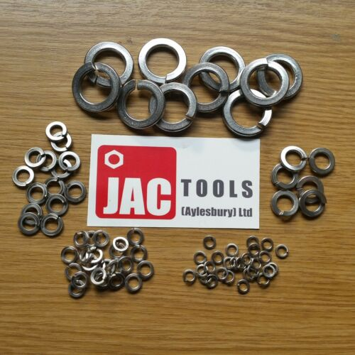 SPRING LOCK WASHERS RECT SINGLE COIL BZP M4 M5 M6 M8 M10 M12 M16 M20 M24