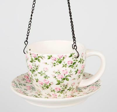Vintage Floral Pink Tea Cup Bird Feeder Cup & Saucer By Sass & Belle