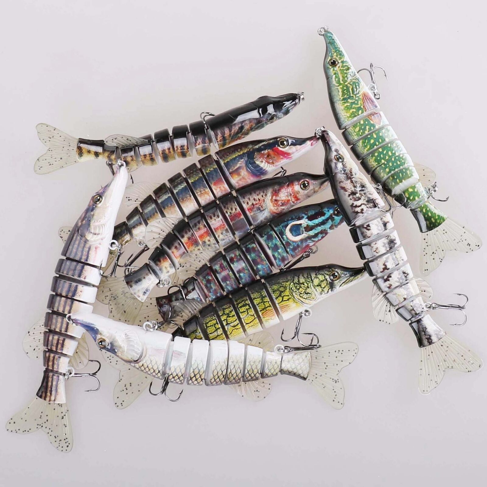 8  Multi Jointed Fishing Lure Swimbait Bass Crankbait Hard Bait Treble Hook
