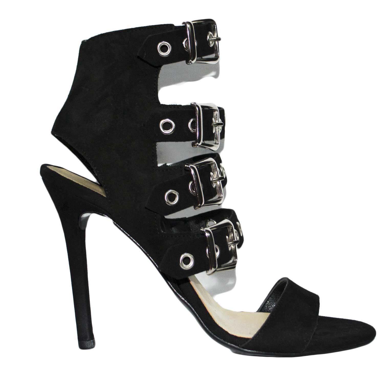 Sandale tacco nero art.st9093 made in italy accessori fibbia argento camoscio mo