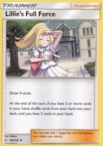 Uncommon Cosmic Eclipse Pokemon TCG 4 x NM Lillie/'s Full Force 196//236