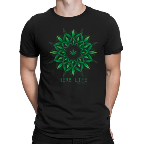Herb Vie Homme Drôle T-shirt Cannabis Weed Marijuana Leaf Dope Slogan TOP