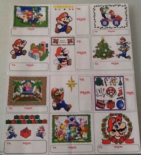 12 LEGEND OF ZELDA LINK STICKERS CHRISTMAS GIFT TAGS OR SUPER MARIO /& FRIENDS