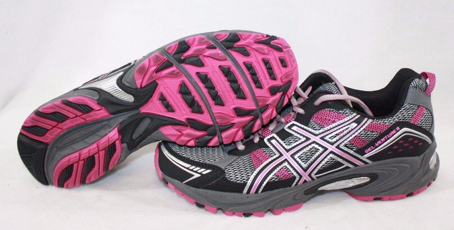 Nuevo Para Mujer Venture Asics Gel Venture Mujer 4 t383n 7990 carbón Magenta Negro Zapatillas zapatos dab69e