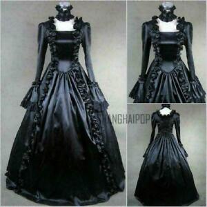 Victorian Ruffle Gothic Dress Lolita Steam punk Lady Evening Vintage Costume