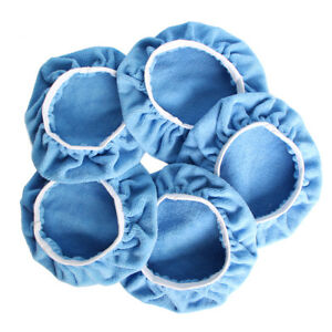 5PCS-7-8-034-180mm-Blue-Microfibre-Bonnets-Buffing-Pads-Car-Waxer-Polisher-Covers