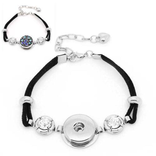 1 Schwarz Polyester Charm Armband mit Strass Passt Druckknopf 25cm lang