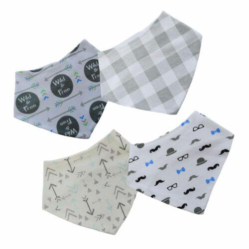 Baby Boys Girls Printed Bandana Bib 100/% Cotton Pack Of 4 Bibs BB362