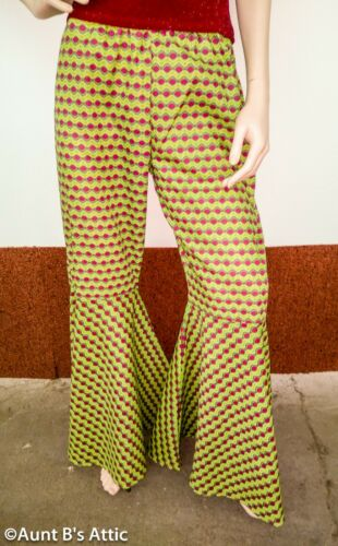 Details about  /60/'s-70/'s Bell Bottom Pants Gr//Dk Pink// Yellow Print Groovy Costume Pants
