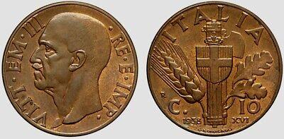 VENTENNIO FASCISTA RARA MONETA DA 10 CENTESIMI 1938 REGNO D/'ITALIA