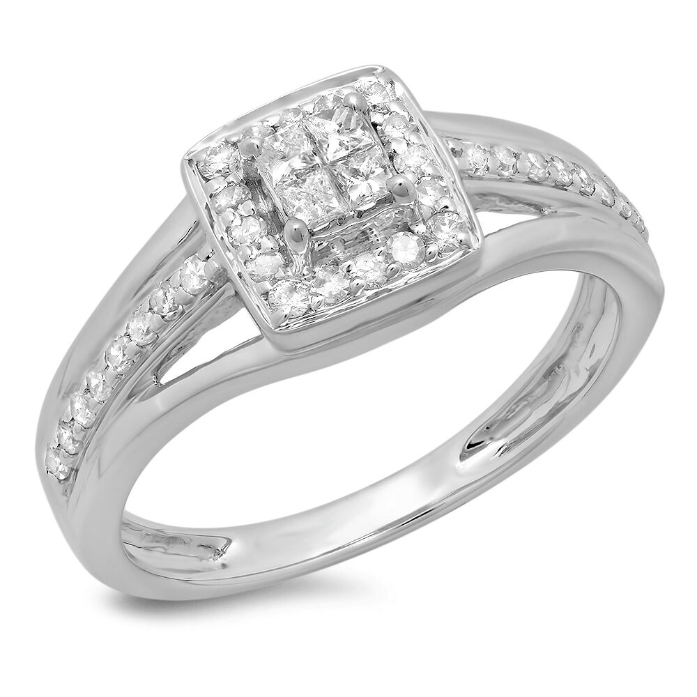 0.45 CT 14K White gold Princess & Round Diamond Ladies Bridal Engagement Ring