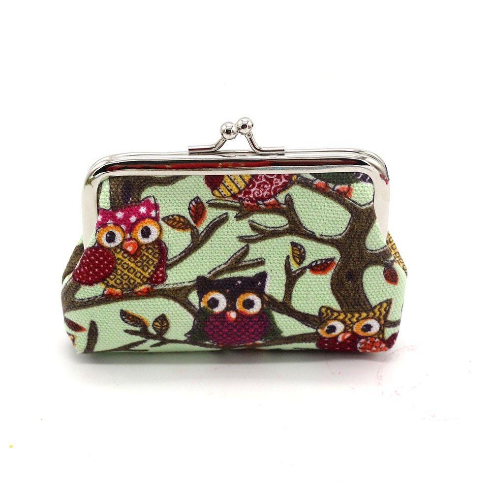 กระเป๋าผ้าใบเล็ก แฟชั่นเกาหลีลายนกฮูกน่ารักใส่เงินเหรียญสตางค์แบบปุ่มบิดเปิดปิด นำเข้า สีเขียว - พร้อมส่งW870 ราคา65บาท